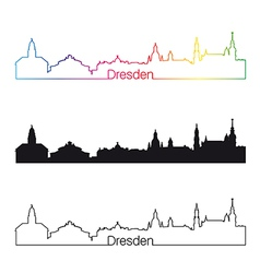 Dresden skyline linear style with rainbow vector image