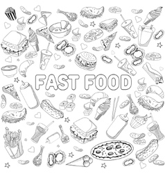 Fast food coloring book design line art vector