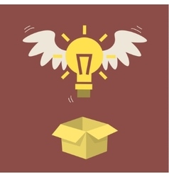 Flying light bulb vector image