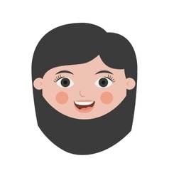 Front face woman smiling with black short hair vector