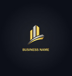 gold building business logo vector image