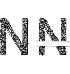 Hand drawn letter n vector