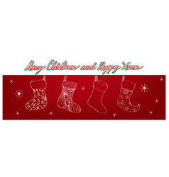 Hand drawn of lovely christmas stockings on red ba vector