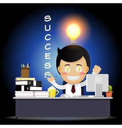 Hand writing success by businessman vector image