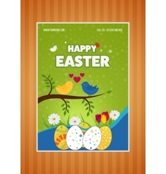 Happy Easter poster Eggs Grass Flowers Poster vector
