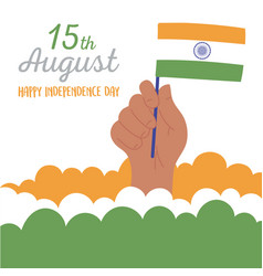 Happy independence day india hand with flag in vector