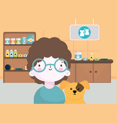 happy little boy with her dog in veterinarian vector image