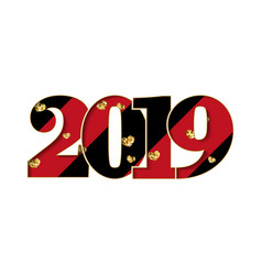 happy new year card black red number 2019 gold vector image