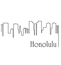 honolulu city one line drawing vector image