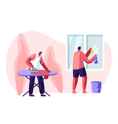 Household male characters housekeeping process vector