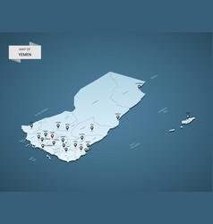 isometric 3d yemen map concept vector image