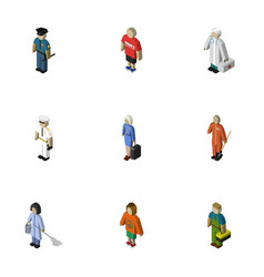 Isometric people set of guy medic cleaner and vector