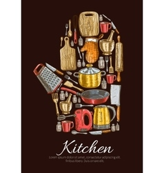 Kitchenware and dishware poster vector