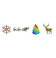 layered paper cut merry christmas set vector image
