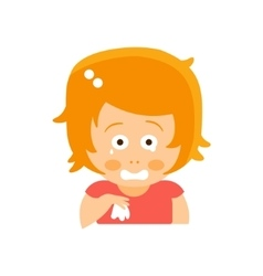 Little Red Head Girl In Red Dress Crying With vector