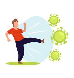 Male character fighting against coronavirus vector