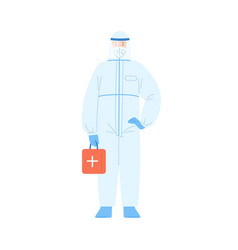 male medical worker in protective suit and mask vector image