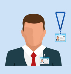 Man in suit with red tie and id badge employees vector