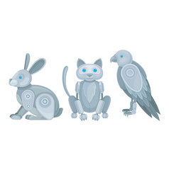 Mechanical animals assembled from metal parts vector