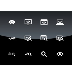 Monitoring icons on black background vector image