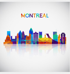 Montreal skyline silhouette in colorful geometric vector