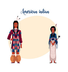 Native american indian couple in traditional vector