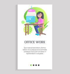 office work woman working on laptop web vector image