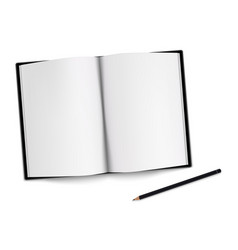 opened black sketchbook with pencil on white vector image