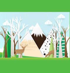 Paper art deer in forest with mountain background vector