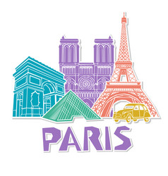 Paris travel icon set vector