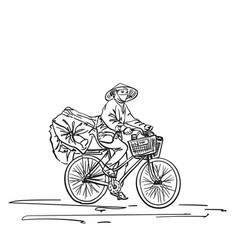 Person in vietnamese hat cycling on heavy loaded vector