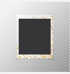 photo frame with golden confetti vector image