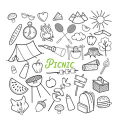 Picnic hand drawn doodle outdoor activities vector