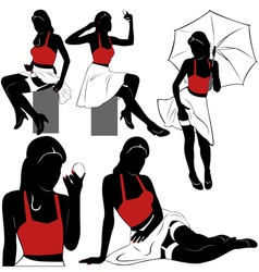 Pin up silhouettes vector