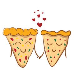 pizza in love or color vector image