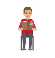 Relaxing process of man reading published edition vector