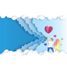 romantic couple paper art style background vector image