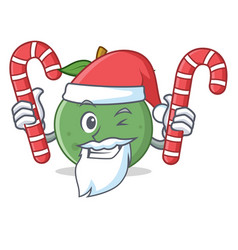 Santa with candy guava mascot cartoon style vector