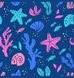 sea flora and fauna flat seamless pattern vector image