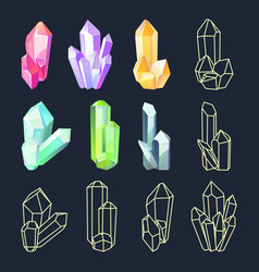 set isolated colorful crystals vector image