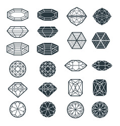 set of black diamond design elements vector image