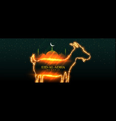 Shiny eid al adha bakrid festival banner design vector