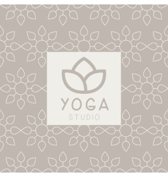 Simplified Lotus Yoga Studio Design Card vector