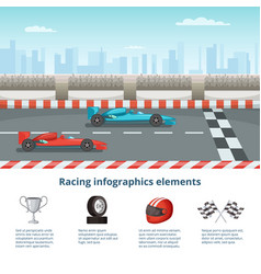 Sport infographic with race cars of formula 1 vector