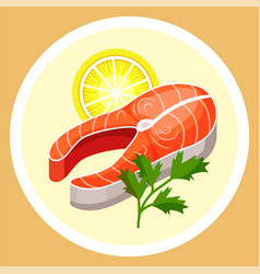 Steak salmon on plate with lemon useful vector