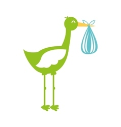 stork with bag baby isolated icon vector image