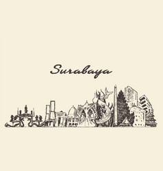 surabaya skyline east java indonesia drawn vector image