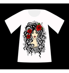T-Shirt with a drawing of beautiful woman vector image vector image