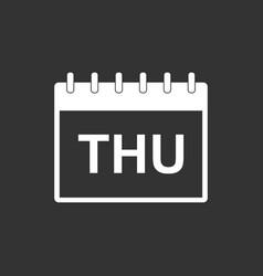 Thursday calendar page pictogram icon simple flat vector