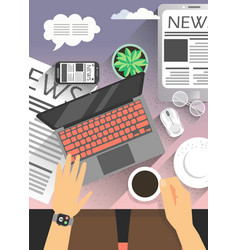 top view office workplace and businessman reading vector image